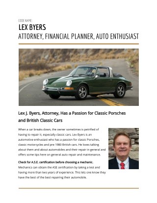 Lex Byers Attorney, Financial Planner, Auto Enthusiast