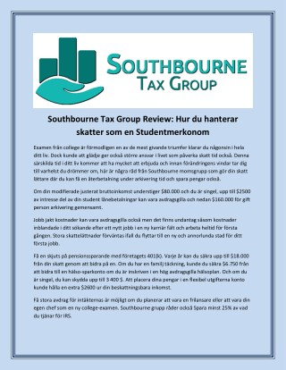 Southbourne Tax Group Review: Hur du hanterar skatter som en Studentmerkonom