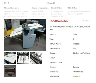 Buy Used ROSBACK 220 Machine