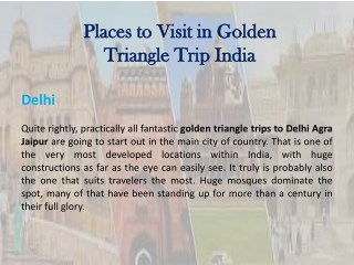 Places to Visit in Golden Triangle Trip India