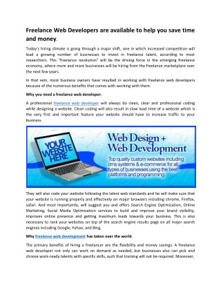 Freelance Web Developers are available to help you save time and money