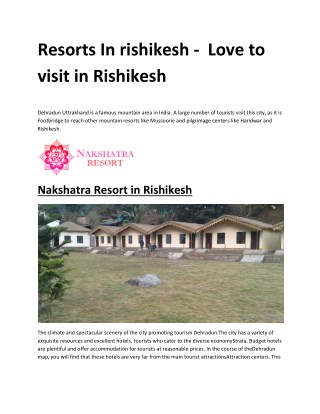 Resorts in rishikesh - Learn how to book resort online