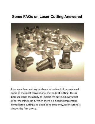 Some FAQs on Laser Cutting Answered