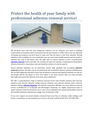 Asbestos Removal & Disposal Service In Melbourne