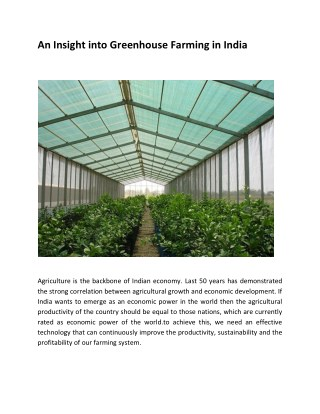 An Insight into Greenhouse Farming in India