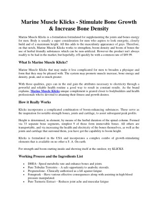Marine Muscle Klicks - Stimulate Bone Growth & Increase Bone Density