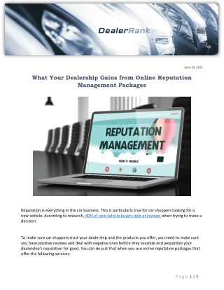 What Your Dealership Gains from Online Reputation Management Packages