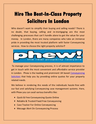 Hire The Best-In-Class Property Solicitors In London