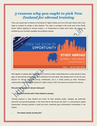 3 reasons why you ought to pick New Zealand for abroad training - Prolific Overseas