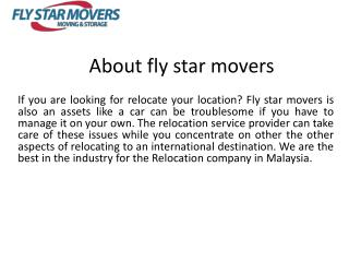 Best moving companies Malaysia | fly star movers