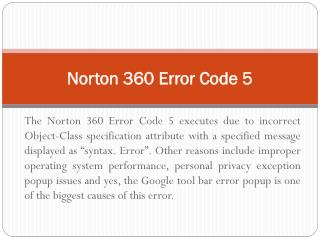 (1800) (431) (268) Norton 360 Error Code 5