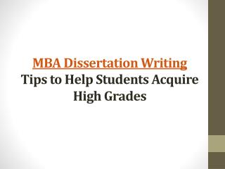 MBA Dissertation Writing Tips