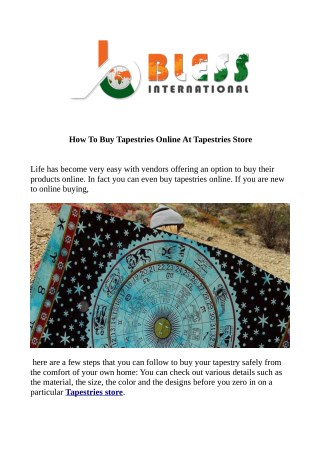 How to Buy Tapestries Online at Tapestries store