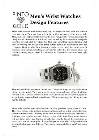 Men's Wrist Watches Design Features