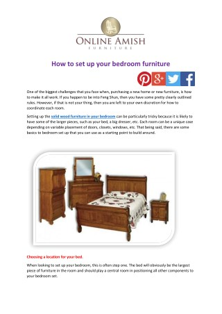 How to set up your bedroom furniture