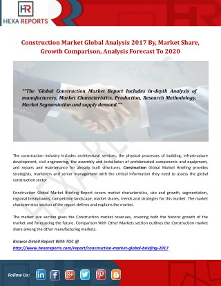 Construction market global analysis 2017 by,market share, growth comparison,analysis forecast to 2020