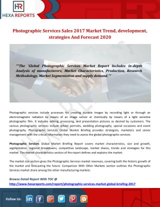 Photographic services sales 2017 market trend, development, strategies and forecast 2020