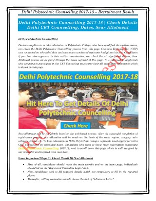 Delhi Polytechnic Counselling 2017-18| Check Details Delhi CET Councelling, Dates, Sear Allotment