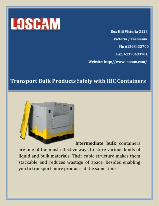 Transport Bulk Products Safely with IBC containers