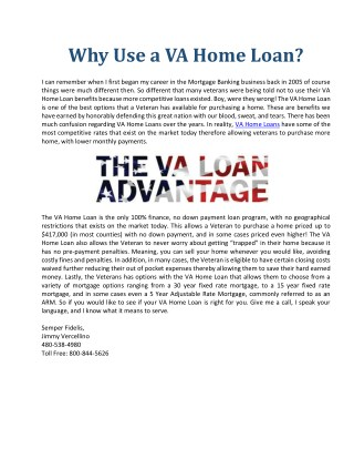 Why Use a VA Home Loan