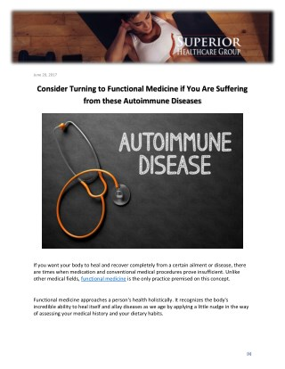 Consider Turning to Functional Medicine if You Are Suffering from these Autoimmune Diseases