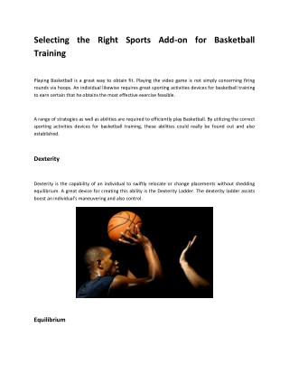 Selecting the Right Sports Add-on for Basketball Training
