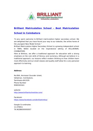 Matriculation school in Coimbatore, Vellakinar, Thudiyalur & Saravanampatti | Brilliant Matriculation School