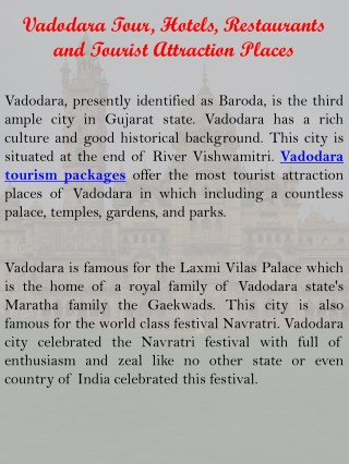 Vadodara Tour, Hotels, Restaurants and Tourist Attraction Places
