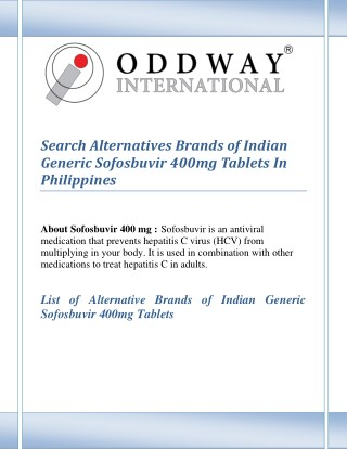 Find Alternatives Brands of Indian Generic Sofosbuvir 400mg Tablets