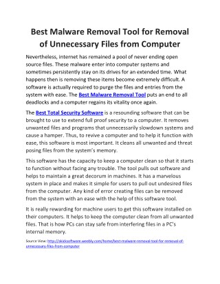 Best Malware Removal Tool for Removal of Unnecessary Files from Computer