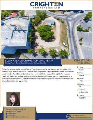 Elgin Avenue Commercial Land Property Available in Cayman Islands.