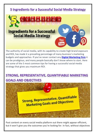 5 Ingredients for a Successful Social Media Strategy