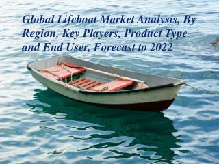 Global Lifeboat Market Analysis, By Region, Key Players, Product Type and End User, Forecast to 2022
