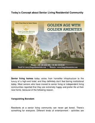 Today's Concept about Senior Living Residential Community