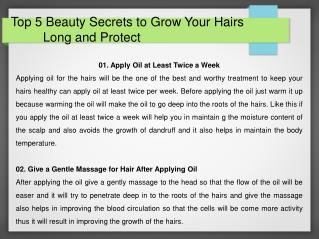 Top 5 Beauty Secrets for Grow Your Hairs Long and Protect