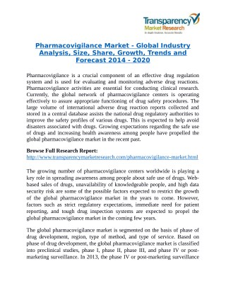 Pharmacovigilance Market Research Report Forecast to 2020