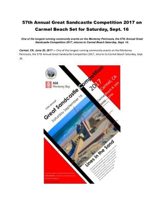 57th Annual Great Sandcastle Competition 2017 on Carmel Beach Set for Saturday, Sept. 16