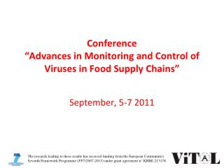 Conference   Advances in Monitoring and Control of Viruses in Food Supply Chains