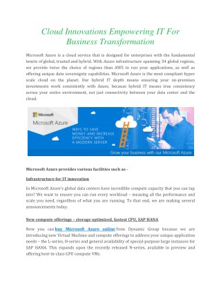 Cloud Innovations Empowering IT For Business Transformation