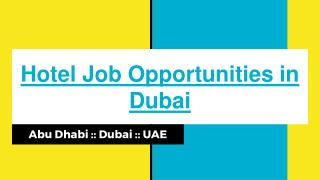Find Suitable Hotel Jobs Opportunities In Dubai