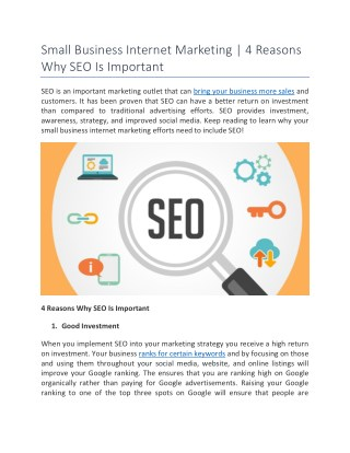 Small Business Internet Marketing | 4 Reasons Why SEO Is Important