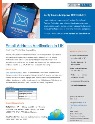 Email Verification Service in UK - Melissa