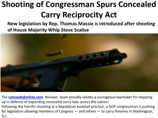 Shooting of Congressman Spurs Concealed Carry Reciprocity Act