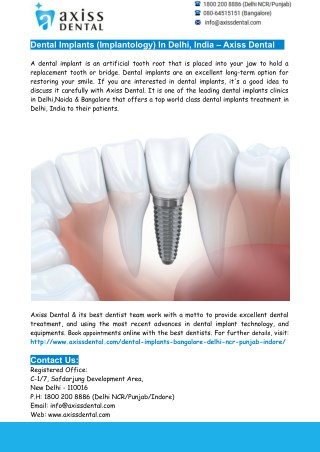 Dental Implants Delhi- Axiss Dental