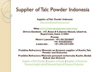 Supplier of Talc Powder Indonesia