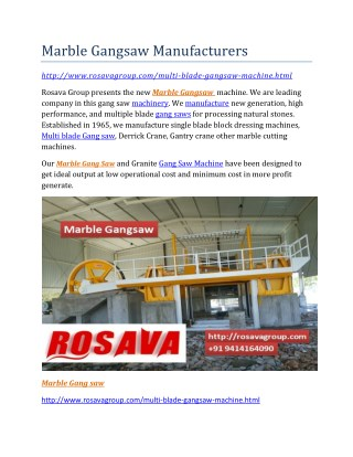 Marble Gangsaw Manufacturers
