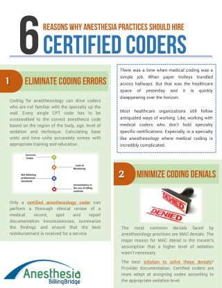 6 Reasons why Anesthesia practices should hire certified Anesthesiology coders