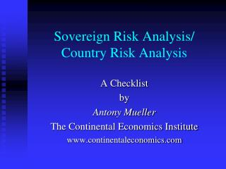 Sovereign Risk Analysis/ Country Risk Analysis