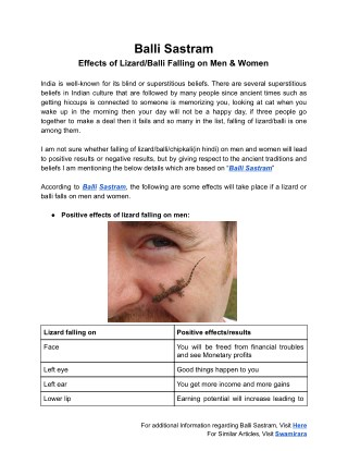 Balli Sastram (బల్లి శాస్త్రం) - Effects Of Lizard Falling on Humans