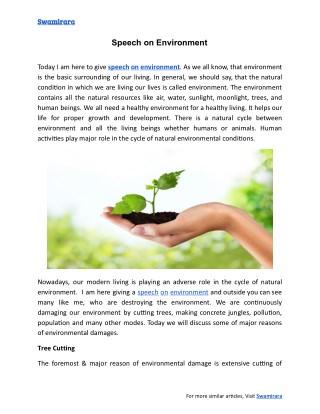 Speech On Environment